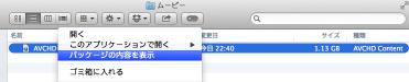 AVCHD形式ファイルのパッケージの内容を表示
