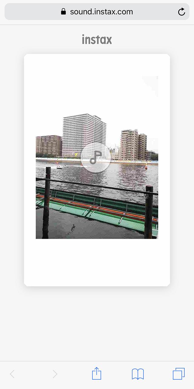 チェキカメラinstax mini LiPlay(インスタックス ミニ リプレイ)の音付きプリントを再生