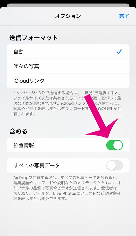 iOS13共有シートのオプションで位置情報の有無を設定