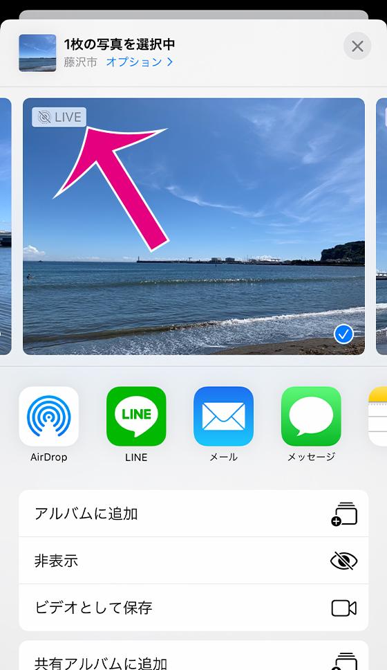 iOS13共有シートでライブフォトの写真のみシェア
