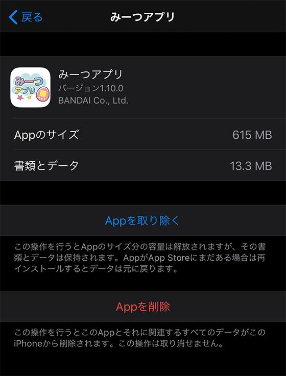 iPhoneアプリの使用サイズを確認